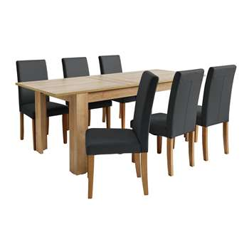 Argos Home Miami Extendable XL Dining Table & 6 Chairs - Black
