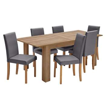 Argos Home Miami Extendable XL Dining Table & 6 Chairs - Charcoal