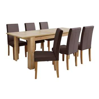Argos Home Miami Extendable XL Dining Table & 6 Chairs - Choc