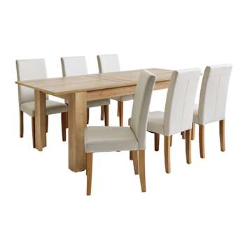 Argos Home Miami Extendable XL Dining Table & 6 Chairs - Cream