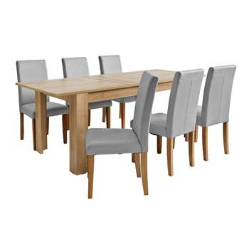 Argos Home Miami Extendable XL Dining Table & 6 Chairs -Grey