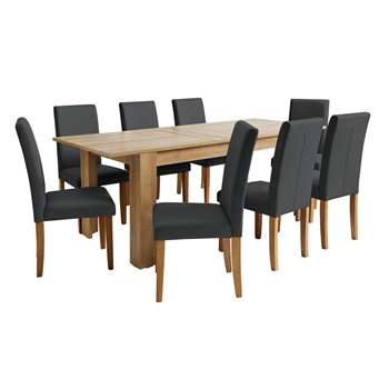 Argos Home Miami Extendable XL Dining Table & 8 Chairs - Black