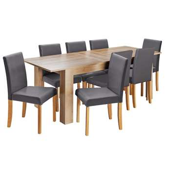 Argos Home Miami Extendable XL Dining Table & 8 Chairs -Ccoal