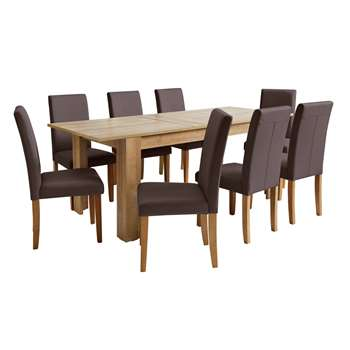 Argos Home Miami Extendable XL Dining Table & 8 Chairs - Choc