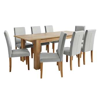 Argos Home Miami Extendable XL Dining Table & 8 Chairs -Grey
