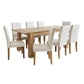 Argos Home Miami Extendable XL Table & 8 Chairs - Cream