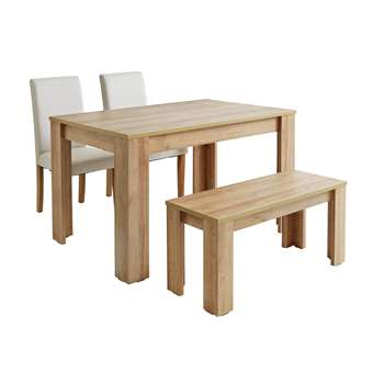 Argos Home Miami Oak Effect Table, Bench and Chairs - Cream