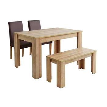 Argos Home Miami Table, Bench and Chairs Set - Chocolate