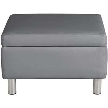 Argos Home Moda Faux Leather Storage Footstool - Grey (H41.5 x W64.5 x D49cm)