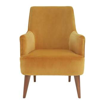Argos Home Molly Velvet Accent Chair - Ochre (H89 x W63 x D83cm)