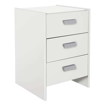 Argos Home - New Capella 3 Drawer - Bedside Chest - White (H58 x W38 x D40cm)