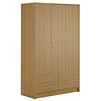 Argos Home New Malibu 3 Door 4 Drawer Wardrobe - Oak Effect (H180.5 x W110.4 x D49.8cm)