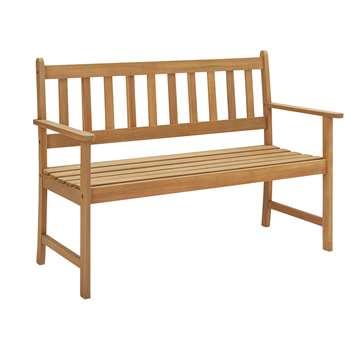 Argos Home Newbury Wooden 2 Seater Garden Bench - Light Wood (H85 x W122 x D57cm)