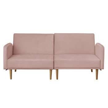 Argos Home Neyo 2 Seater Velvet Sofa Bed - Pink (H86 x W105 x D81cm)