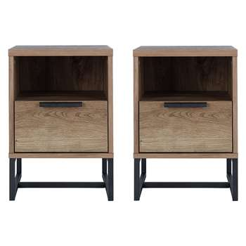Argos Home Nomad 2 Bedside Chests - Oak Effect (H57.5 x W39.5 x D39.5cm)