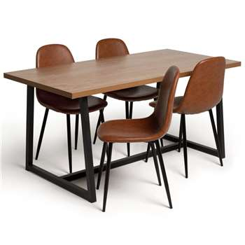 Argos Home Nomad Wood Dining Table & 4 Beni Tan Chairs