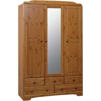 Argos Home Nordic 3 Door 5 Drawer Mirrored Wardrobe - Pine (H192 x W121 x D49cm)