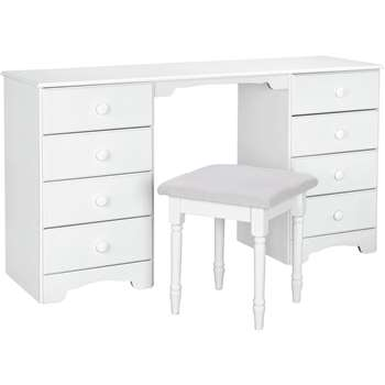 Argos Home Nordic 8 Drawer Dressing Table & Stool - Soft White (H76 x W139 x D40cm)