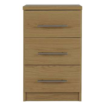Argos Home - Normandy 3 Drawer - Bedside Chest - Oak Effect (H63 x W38 x D40cm)