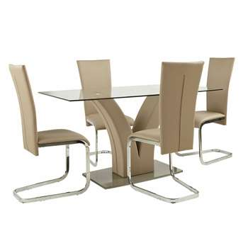 Argos Home Oriana Glass Table & 4 Cantilever Chairs - Beige