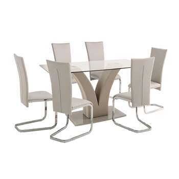 Argos Home Oriana Glass Table & 6 Cantilever Chairs - Beige