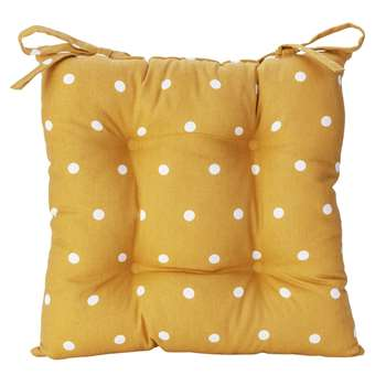 Argos Home Pack of 2 Spot Seat Cushions - Mustard (H40 x W40cm)