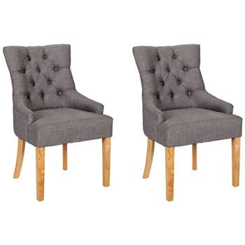 Argos Home Pair of Cherwell Dining Chairs - Charcoal (H95 x W61 x D58cm)
