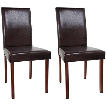Argos Home Pair of Leather Effect Mid Back Chairs - Chocolate (H92 x W44 x D53cm)