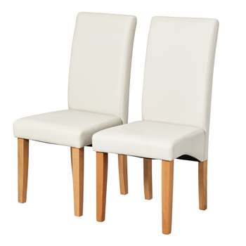 Argos Home Pair of Skirted Dining Chairs - Cream (H95 x W44 x D56cm)