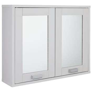 Argos Home Prime 2 Door Mirrored Cabinet - White (H46 x W56 x D14cm)