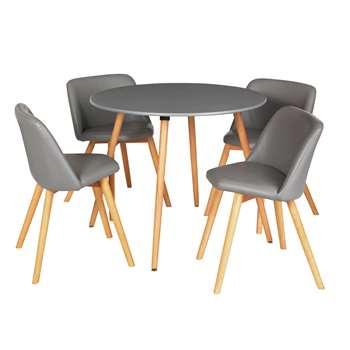Argos Home Quattro Round Table & 4 Chairs - Grey