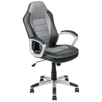 Argos Home Racing Style Gaming Chair - Black & Grey (H113.5 x W47 x D48.5cm)