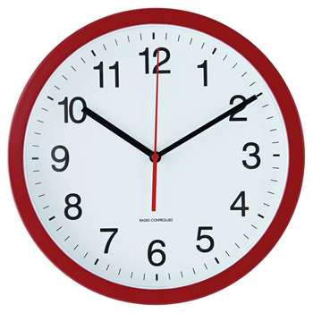 Argos Home Radio Controlled Wall Clock - Red (H30 x W30 x D4.5cm)