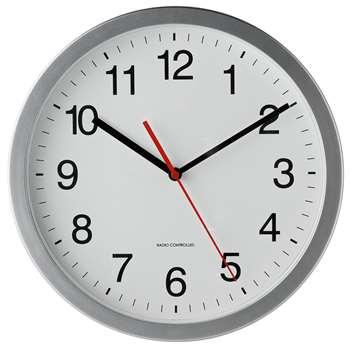 Argos Home Radio Controlled Wall Clock - Silver (H30 x W30 x D4.5cm)