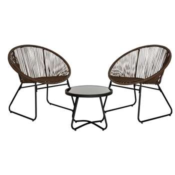 Argos Home Rattan String Bistro Set - Brown