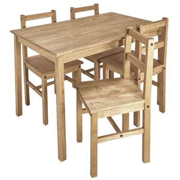 Argos Home Raye Solid Wood Table & 4 Chairs - Natural (H73 x W118 x D75cm)