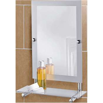 Argos Home Rect Frosted Edge Wall Mirror & Glass Shelf (H50 x W30 x D14.5cm)