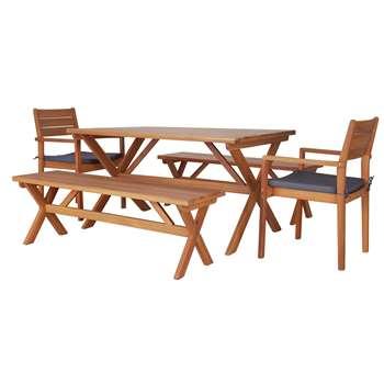 Argos Home Richmond 6 Seater Wooden Patio Set (H74 x W90 x D59.5cm)