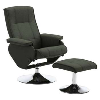 Argos Home Rowan Fabric Swivel Chair & Footstool - Charcoal (H99.5 x W80.5 x D75cm)