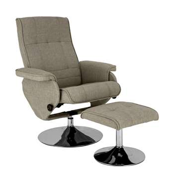 Argos Home Rowan Fabric Swivel Chair & Footstool - Light Grey (H99.5 x W80.5 x D75cm)