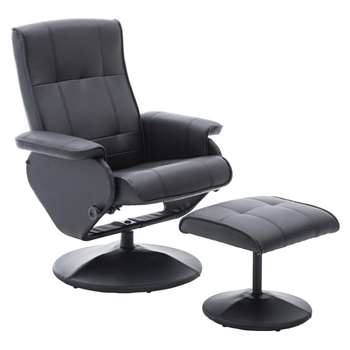 Argos Home Rowan Faux Leather Swivel Chair & Footstool Black (H99.5 x W80.5 x D75cm)