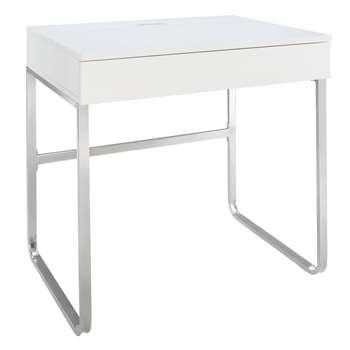 Argos Home Sammy 1 Drawer Desk - White Gloss (H75 x W80 x D57cm)