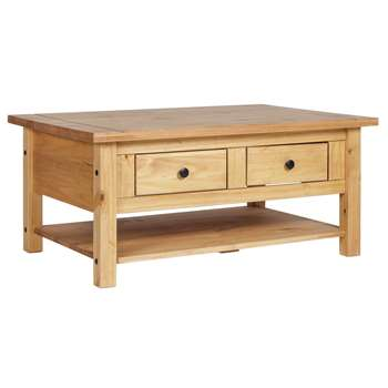 Argos Home - San Diego 2 Drawers 1 Shelf - Coffee Table - Pine (H45 x W100 x D70cm)