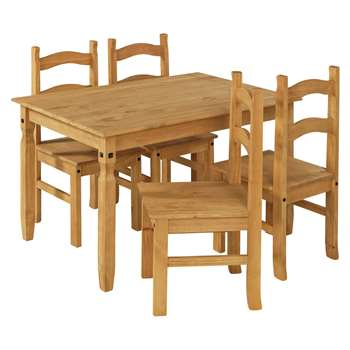 Argos Home San Diego Solid Wood Table & 4 Chairs - Natural