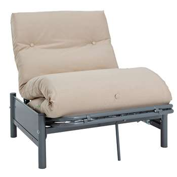 Argos Home Single Futon Metal Sofa Bed w/ Mattress - Natural (H75 x W88 x D89cm)