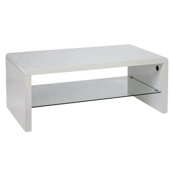 Argos Home Sleigh 1 Shelf Coffee Table - White Gloss (H40 x W100 x D55cm)