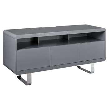 Argos Home Sleigh TV Unit - Gloss Grey (H57 x W120 x D40cm)