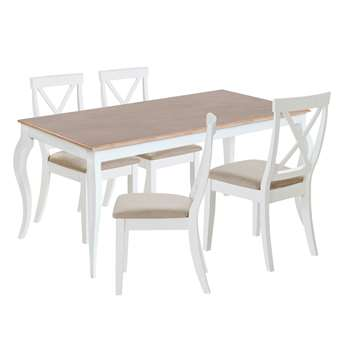 Argos Home Southwold Oak Veneer Table & 4 Chairs - Two Tone