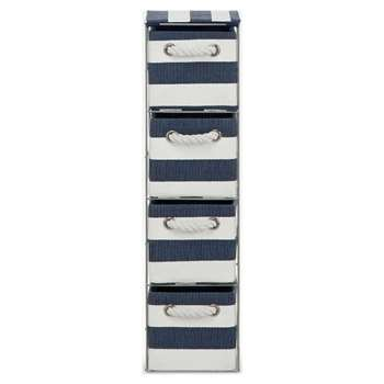 Argos Home Tall 4 Drawer Storage Tower - Blue and White (H65 x W18 x D24cm)