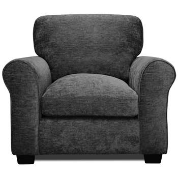 Argos Home Tammy Fabric Armchair - Charcoal (H85 x W96 x D91cm)